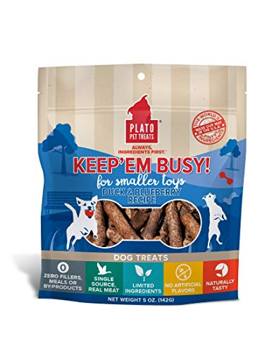 Plato Keep Em' Busy Duck + Blueberry Dog Treats