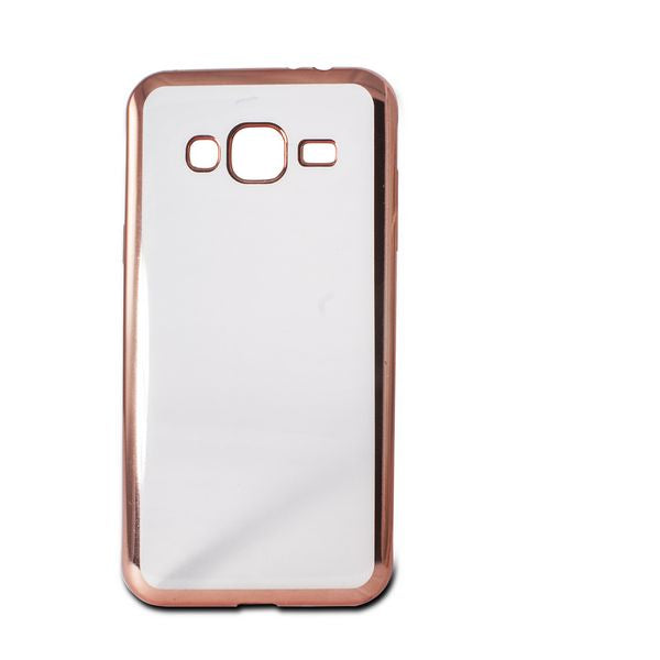 Mobile cover Samsung Galaxy J3 2016 Flex Metal TPU Transparent Rose gold Metallic