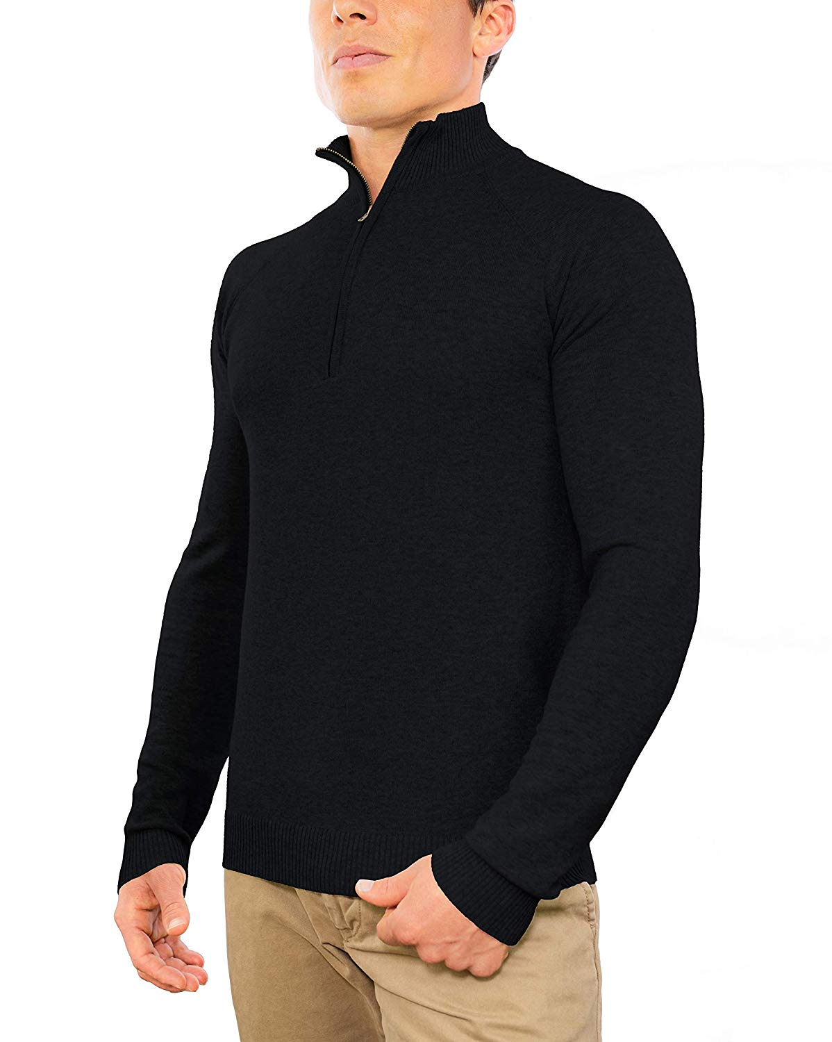 Perfect Slim Fit Lightweight Soft Fitted Quarter Zip Pullover Sweater