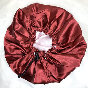 Reversible and adjustable satin bonnet - Burgundy and light pink