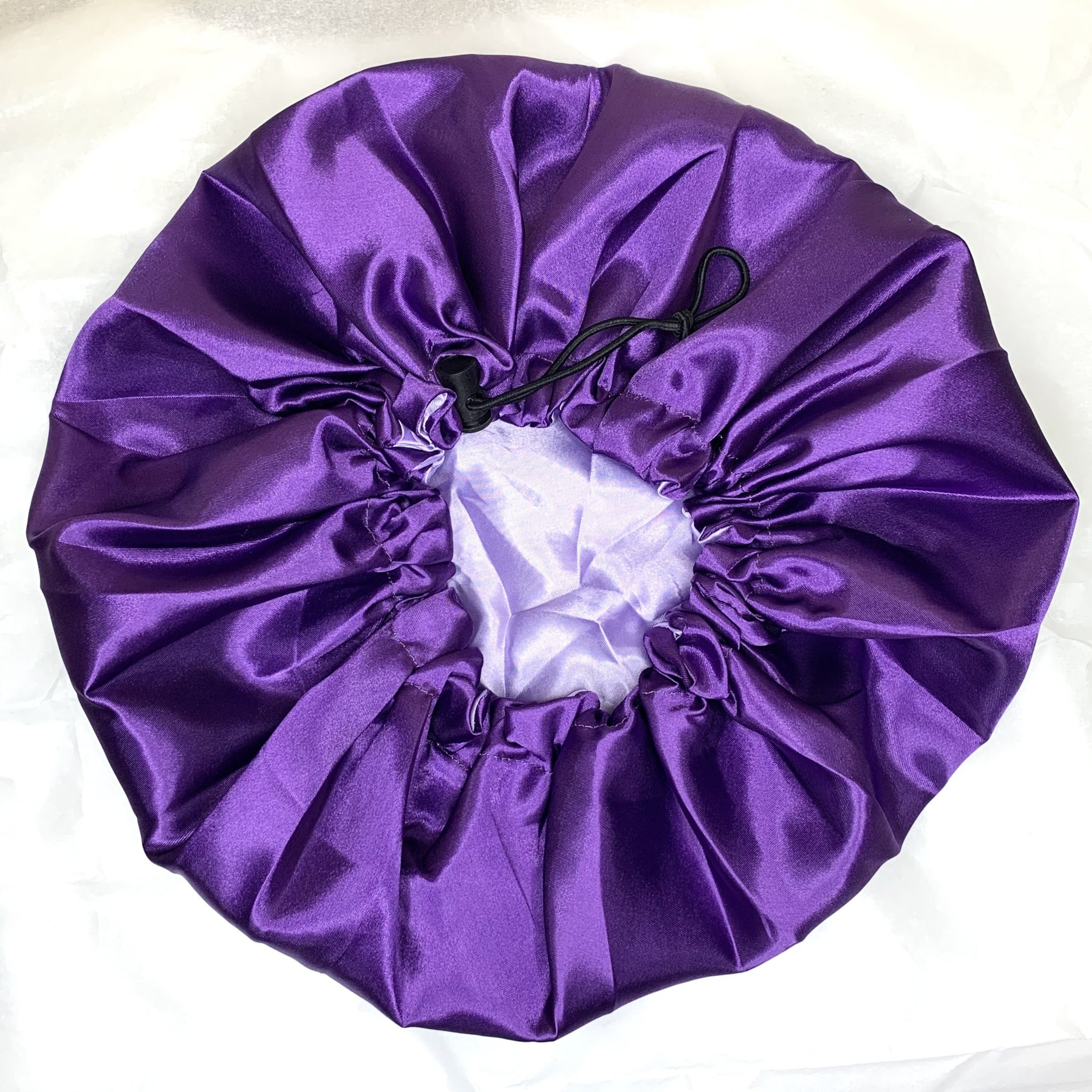Reversible and adjustable satin bonnet - Purple and lilac