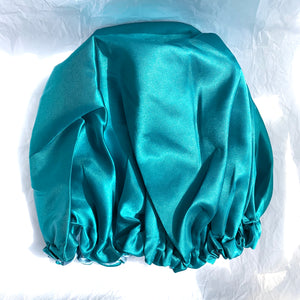 Reversible and adjustable satin bonnet - Emerald and green tea
