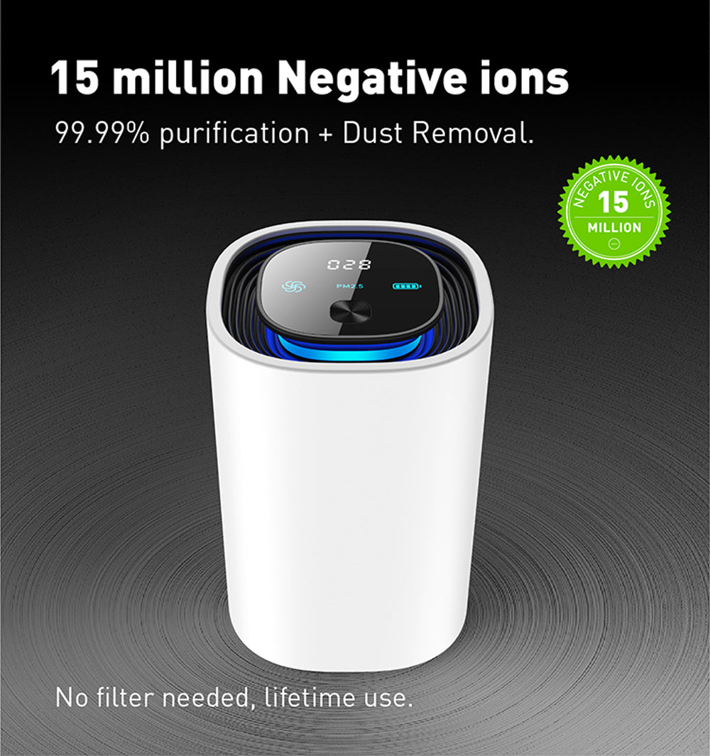 Wireless UV Intelligent Air Purifier & Ionizer | Portable Smart PM2.5 Air Quality Monitor