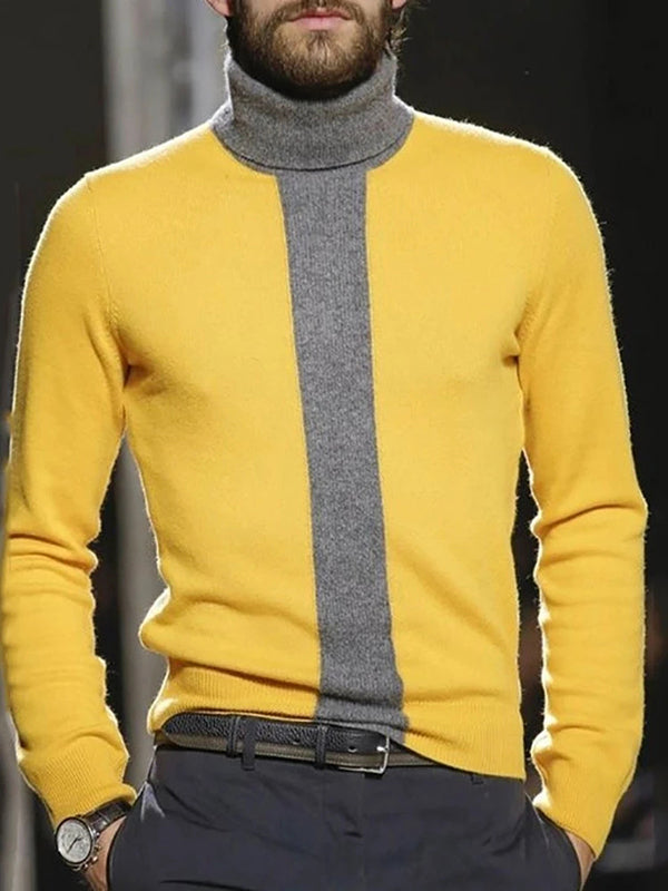 Thejazzyshop Color Block Standard Turtleneck Casual Slim Sweater