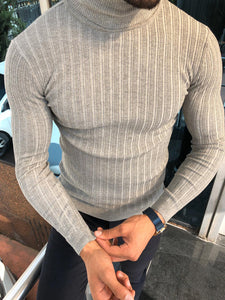 Thejazzyshop Gentwith Eva Gray Slim Fit Turtleneck Ribbed Sweater