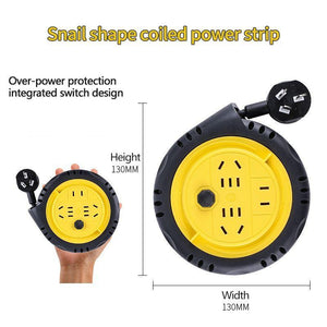 Snail shape coiled power strip, 1.8m mobile reel socket