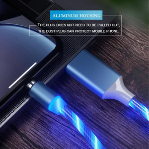 Newest 3 in 1 Fast Charging Streamer Magnetic Data Line for Android/iOS/Type C Phone