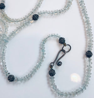 Iolite with sterling silver beaded necklace