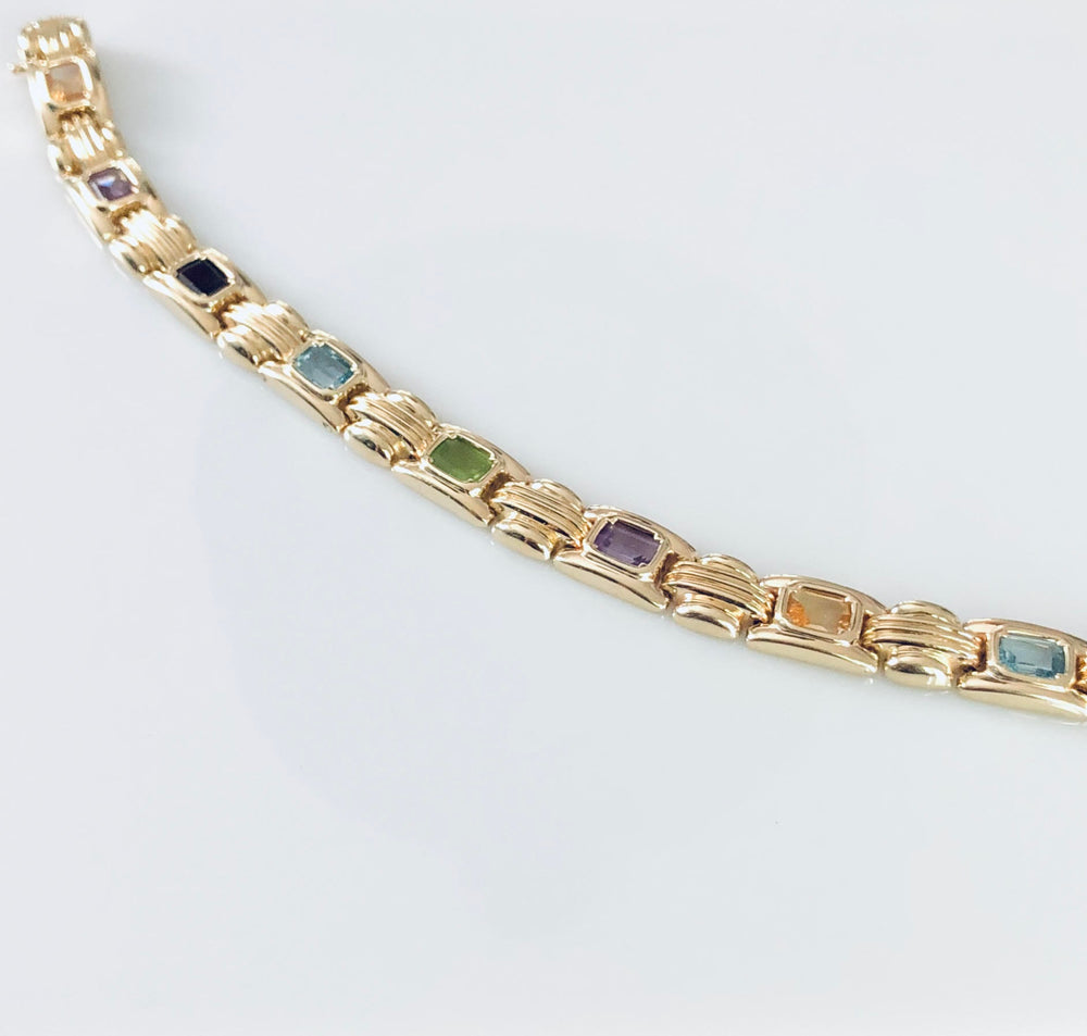 Multi-Color Semi-Precious Stone Bracelet