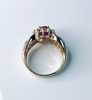 Load image into Gallery viewer, Ruby Sunburst Diamond Ring