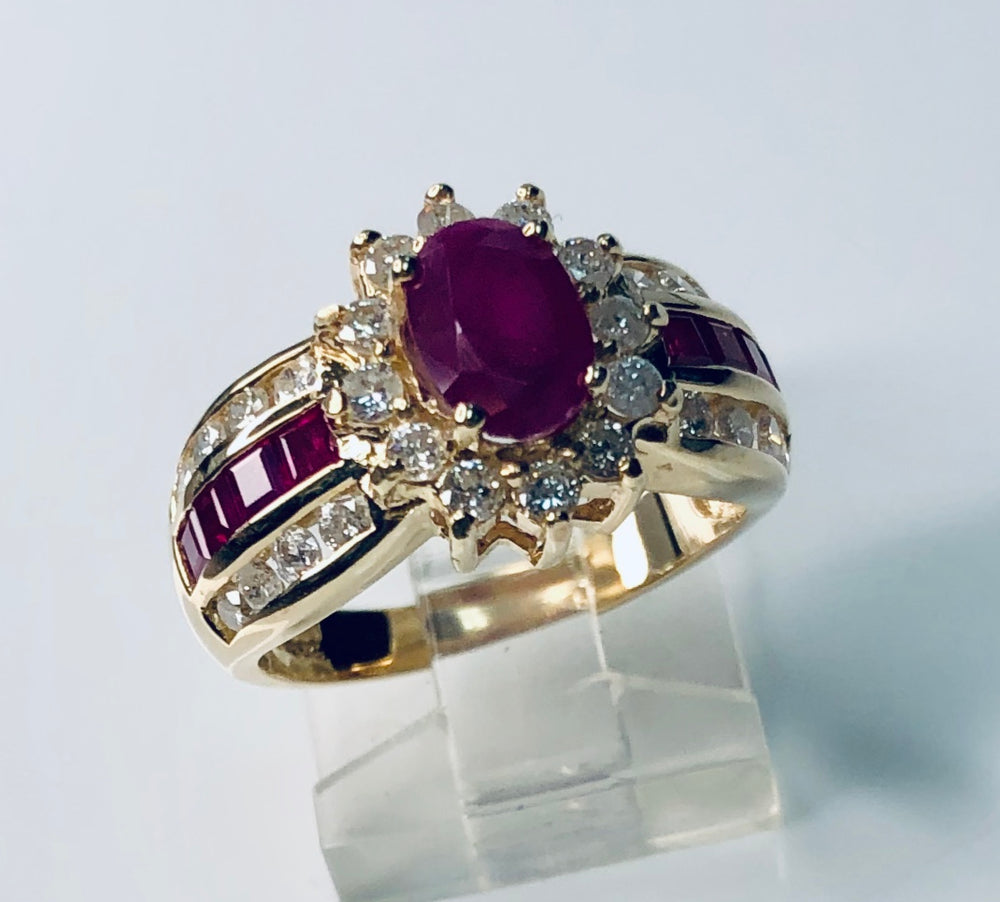 Ruby Sunburst Diamond Ring