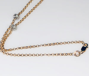 Yellow gold chain with white gold randels