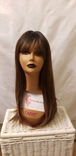 Auburn Brown Synthetic Straight Wig with Bangs