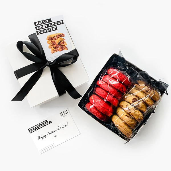 Limited Edition Valentine's Day Gift Box – Red Velvet & Classic Chocolate Chip Cookies Combo (12 pcs)