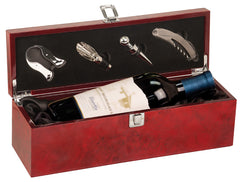 Burlwood High Gloss Finish Single Wine Box with Tools