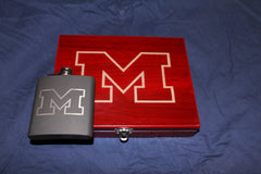 U of M Rosewood Boxed Flask Sets