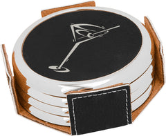 Round Leatherette Coaster Set w/ Silver Edge