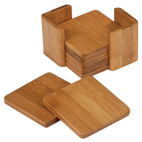 Square Bamboo Coaster Set w/holder