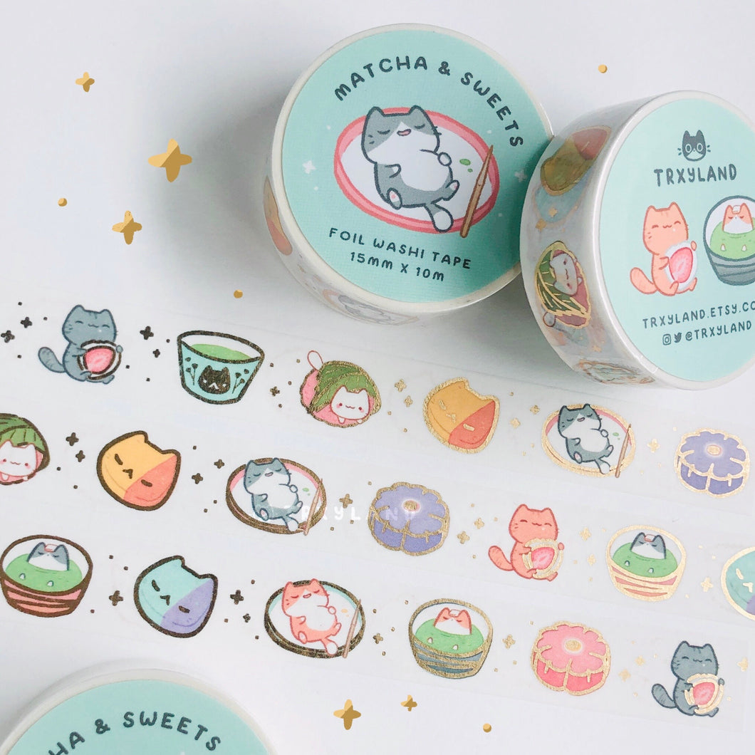 Matcha & Sweets Gold Foil Washi Tape