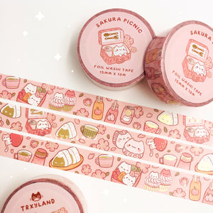Sakura Picnic Gold Foil Washi Tape