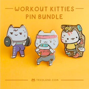 Workout Kitties Series Bundle Enamel Pins