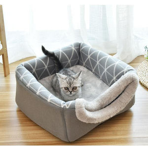 folding house cave & bed 2 in 1 - pet motion