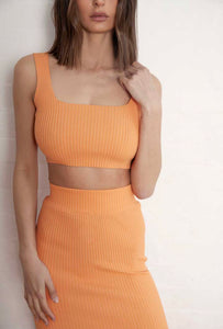 Henne - The Lara Ribbed Set in Orange