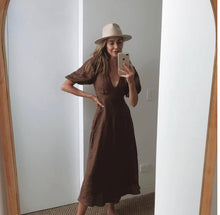 Load image into Gallery viewer, Dissh - Remi Chocolate Linen Midi Dress