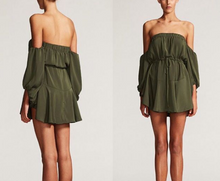 Load image into Gallery viewer, Shona Joy - Leticia Off The Shoulder Mini Dress Khaki