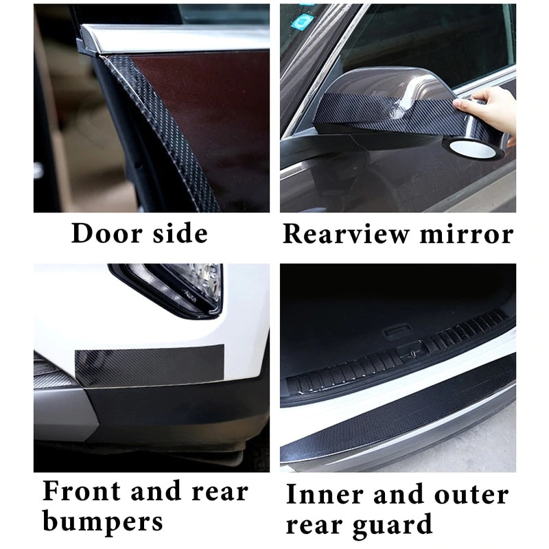 MALAGO Carbon Fiber Car Sticker Protector Strip Auto Door Sill Side Mirror Anti Scratch Tape Waterproof Protection Film| |