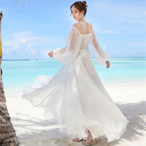 MALAGO Chiffon Off Shoulder Dress Maxi Long Sleeve Beach Dress