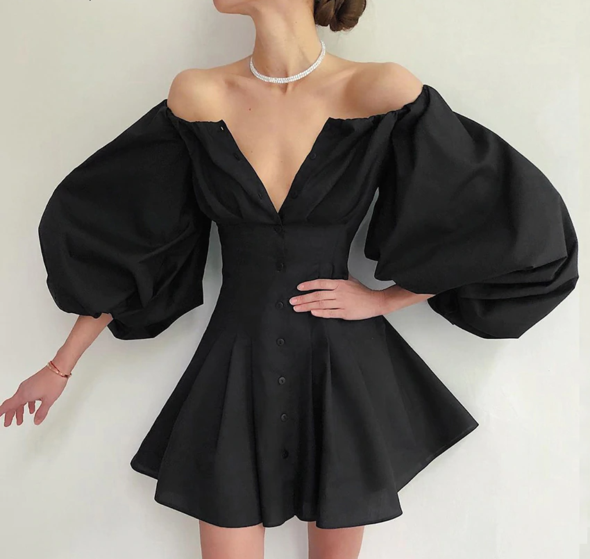 MALAGO Sexy Off Shoulder Pleated Dress Women Elegant Lantern Sleeve Dress  {21010007}