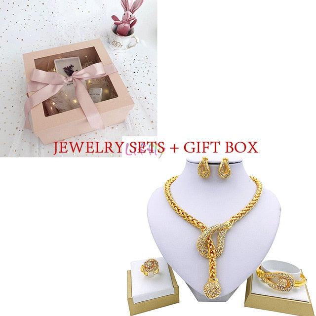 MALAGO Luxury Dubai Gold Geometric Jewelry Sets