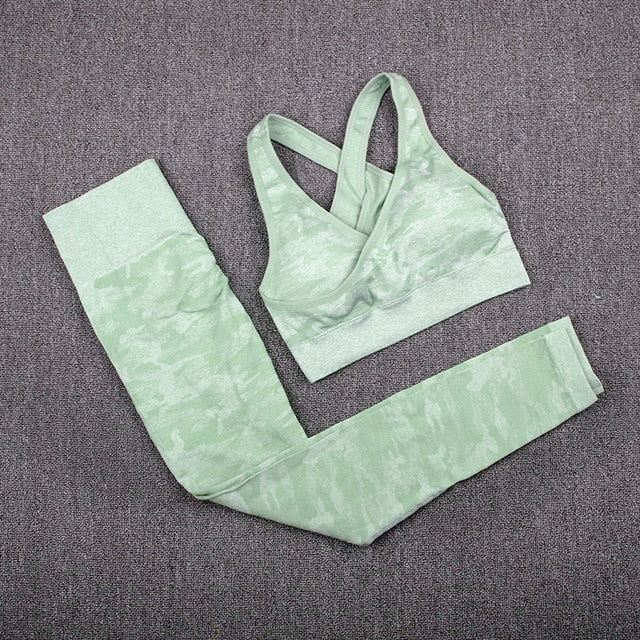 MALAGO 2 PCS Yoga Set Camouflage Workout Fitness Tank Push Up Yoga Leggings Sport Bra Gym Sport Suit|Yoga Sets  {21010014}