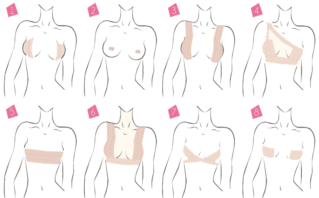 Diagram on how to use transparent boob tape