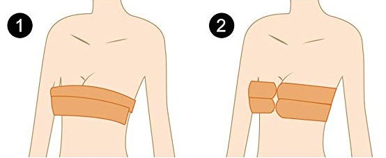 Diagram of how to use boob tape - tape down