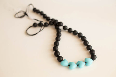Little Teether - Teething Jewelry - Brave Black and Aqua