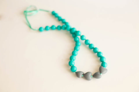 Little Teether - Teething Jewelry - Brave Teal and Slate