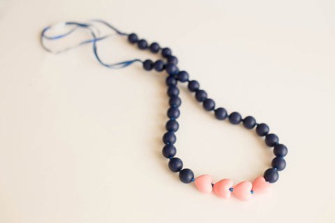 Little Teether - Teething Jewelry - Brave Navy and Pink Petal