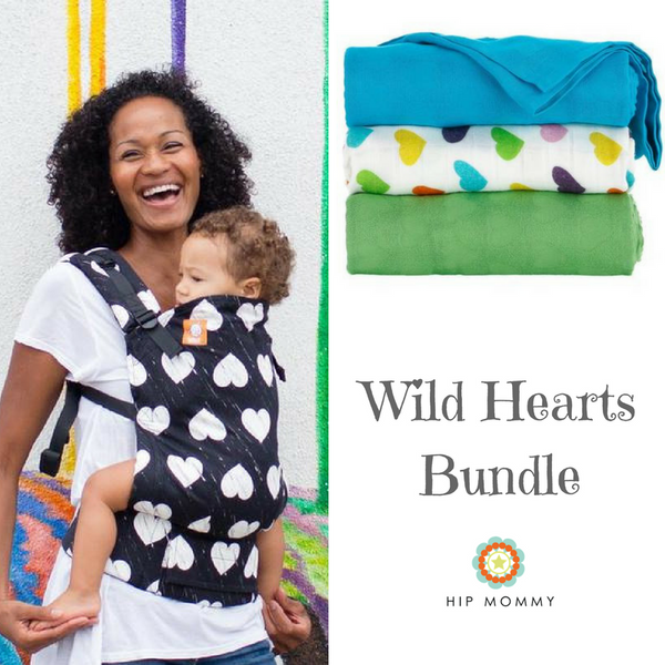 Tula - Wild Hearts Ergonomic Standard Baby Carrier + Rainbow Hearts Oliver Blanket Set (FINAL SALE)