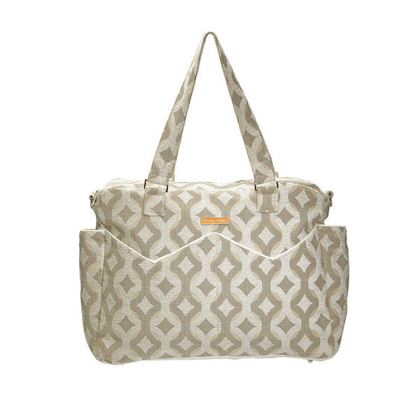 Foxy Vida - Ivory Talvin Chenile Satchel Diaper Bag HAS NO SHOULDER STRAP (FINAL SALE)