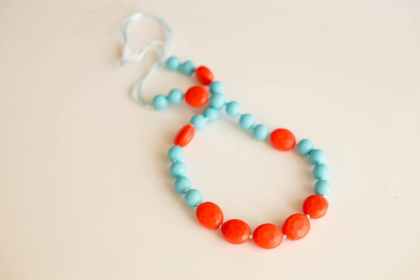 Little Teether - Teething Jewelry - Glam Aqua and Coral