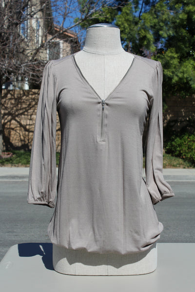 Jules & Jim Maternity Blouse - Long Sleeve Zipper Front Top - Stone (FINAL SALE)
