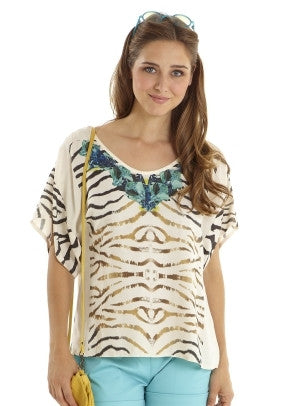 Mothers En Vogue - Jewel Graphic Blouse - Zebra Print