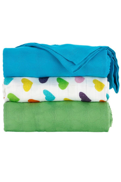 Tula - Rainbow Hearts Oliver Blanket (Set of 3)