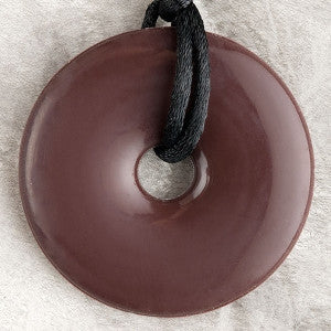 Teething Bling Donut Shaped Pendant - Dark Brown