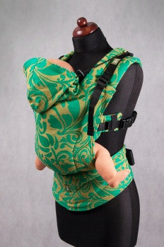 Lenny Lamb S.C. Ergonomic Carrier Wrap Conversion (Baby)  - Twisted Leaves Green and Yellow