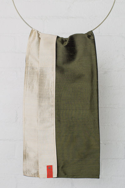 Sakura Bloom -Essential Collection Dupioni Silk Baby Sling : Olive + Pebble