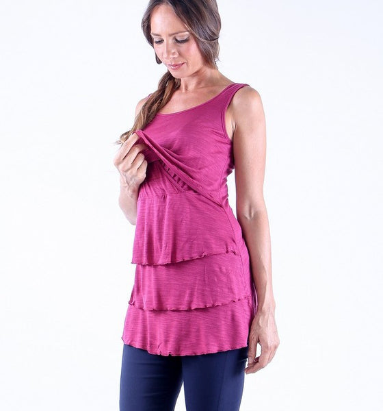 Tier Top Nursing Tank Top - Mulberry