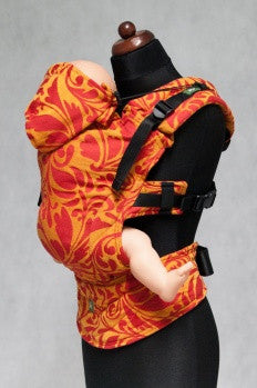 Lenny Lamb S.C. Ergonomic Carrier Wrap Conversion (Toddler)  - Twisted Leaves Red and Orange